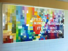 Middle School Bulletin Board made of paint samples.  (Each student could write their name on a block..or a famous quotation on the whole sample...lots of ideas!) (picture only)