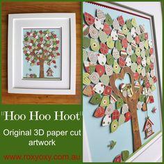 Hoo Hoo Hoot- 3D paper cut wall art by Roxyoxy Creations  www.roxyoxy.com.au #christmas #christmasart #christmasillustrations #owls #paper #papercutart #3Dart #3Dpapercutart #childrenswallart #kidswallart #owlart #roxyoxycreations