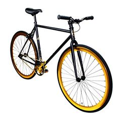 Fixed Gear Bike Zycle Fix Bicycle Black Gold Fixie Bike Fixed Gear Bikes Product Features (48=4'8-5'2, 52=5'3-5'6, 55=5'7-6, 59=6′-and taller) Frame: HI-tensile Steel Frame and Fork Headset: NECO 1-1/8″ Threadless Handlebar:Pursuit Bar Brakes: Front Radius Brakes with Radius Levers Chain: KMC Bottom Bracket: NECO C .. http://www.bicyclessale.com/fixed-gear-bike-zycle-fix-bicycle-black-gold-fixie-bike-5/