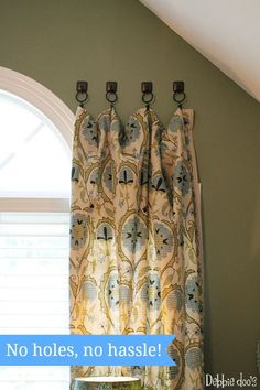 cute idea, hanging curtains with towel hooks. No holes, no hassle hanging curtains the simple way Drop Cloth Curtains, Hanging Curtains, Drapes Curtains, Short Curtains, Drapery, How To Hang Curtains, Velvet Curtains, French Curtains, Double Curtains
