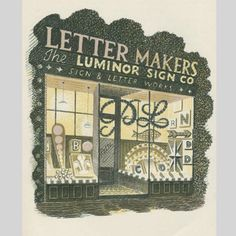Eric Ravilious Letter Maker, Lithograph, framed, Modern British Paintings and Prints - The Scottish Gallery, Edinburgh - Contemporary Art Since 1842 Letter Maker, Children's Book Illustration, Book Illustrations, Wood Engraving, Mellow Yellow, Gravure, Limited Edition Prints, Street Art, Typography