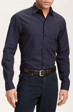 Armani Collezioni Deco Stripe Cotton Shirt