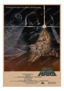 An original, linen-backed, first printing Style A one-sheet movie poster x from 1977 for Star Wars. Art by Tom Jung. Vintage Movies, Vintage Posters, Harry Potter Movie Posters, Alec Guinness, Horror Posters, Star Wars Wallpaper, Vintage Horror, Star Wars Poster, Scary Movies