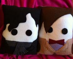 Sherlock and The Doctor pillows <3