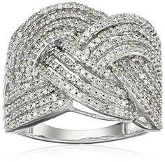 Sterling Silver Diamond Braided Fashion  Ring (1 cttw)...