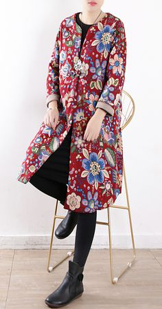 Casual plus size snow jackets v neck winter outwear red prints warm casual outfit Cardigans For Women, Coats For Women, Plus Size Down Coats, Womens Parka, Cardigan Fashion, Warm Coat, Casual Outfits, Snow, Winter