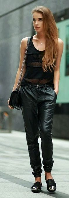 Bright Black Faux Leather Joggers by Maffashion