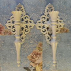 Shabby Ornate Pair of Wall Sconces/Candle holders Cottage ~Chic #ShabbyChic