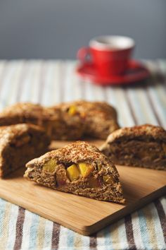 Whole grain spelt scones studded with juicy summer peaches and scented with lavender and vanilla. These vegan scones are lower fat and lightly sweetened.