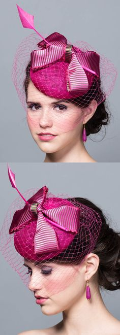 Fascinator Hat in Magenta Fuchsia Hot Pink on Etsy. Sinamay Straw pillbox with veil. Kentucky Derby. Oaks Day, Del Mar racing fashion outfit ideas. Fashionista hats and headpieces for the races, Mother of the Bride, Kentucky Derby, Royal Ascot, summer Weddings outfits. #racingfashion #fashionsonthefield#royalascot #kentuckyderby #hats #millinery #saucerhats #fashion #fashionista #affiliatelink #ootd #floralhats #fascinators