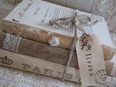 books, twine ,and paper with message