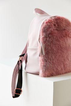 Slide View: 4: Skinnydip Charlie Pink Faux Fur Mini Backpack