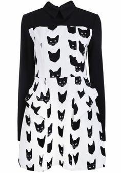 Vestido volante Gato manga larga-Blanco y negro pictures