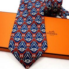Hermes Tie Silk Navy Chicken Egg Serial 7901 Excellent