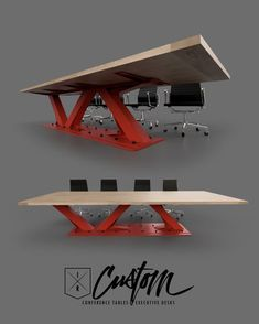 Office Table If you're a fan of Air Jordans how can you not love this conference table? Steel Furniture, Industrial Furniture, Vintage Industrial, Table Furniture, Furniture Nyc, Furniture Outlet, Discount Furniture, Office Furniture Design, Cool Tables