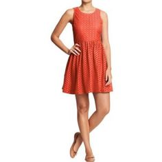 Old Navy eyelet sundress in Orange Old Navy eyelet sundress in Orange. Size 6. Only worn a few times and in perfect condition. Perfect for summer! *PLEASE MAKE OFFERS USING THE OFFER BUTTON, NO COMMENT OFFERS* NO TRADES OR PAYPAL Old Navy Dresses