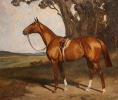 'Benevente', a Saddled Chestnut Racehorse in a Landscape, 1919, by James Lynwood Palmer (1867/8-1941)