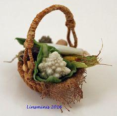 12th Scale Miniature ** Vegetable Basket **...IGMA Fellow #Linsminis