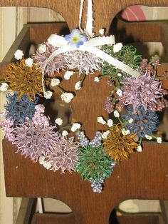 Sweetgum Ball Wreath - Wall Hanging - Small Multi Colored Natural Wreath - Rustic Home Decor - Rustic Ornament - Nature Wreath - Nature Crafts, Decor Crafts, Sweet Gum Tree Crafts, Christmas Tree Ornaments, Christmas Wreaths, Dried Rose Petals, Recycled Art, Ornament Wreath, Flower Pots
