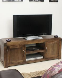 Buy the Solid Walnut Widescreen TV Unit - Shiro from Baumhaus today! A part of our Living Room Storage Furniture range. Tv Cupboard, Cupboard Storage, Media Storage Unit, Television Cabinet, Living Room Storage, Living Rooms, Best Sims, Tv Cabinets, Living Furniture