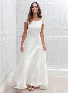 Wedding Dresses - $146.71 - A-Line/Princess Scoop Neck Sweep Train Chiffon Lace Wedding Dress (0025059921)