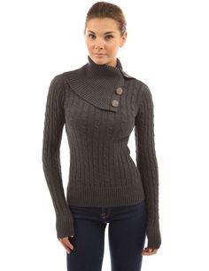 PattyBoutik Women's Turtleneck Cable Knit Sweater (Dark Gray L)