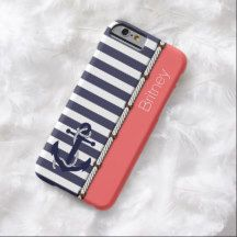 Your Name Anchor Chic Nautical Preppy Stripes Pattern On Coral Red Background iPhone 6 Case
