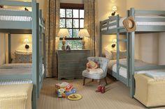 Shooting Star Cabin bunk room with blue bunks Mydal Ikea, Cama Ikea, Ikea Bunk Bed, Kids Bunk Beds, Home Bedroom, Girls Bedroom, Bedroom Decor, Modern Bunk Beds, Bunk Rooms