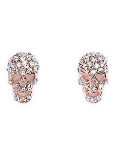 Sparklin' skulls // Blackheart Skull Bling Stud Earrings