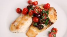 Grilled tilapia with raw Puttanesca salsa Recipe - Laura in the Kitchen - Internet Cooking Show Starring Laura Vitale
