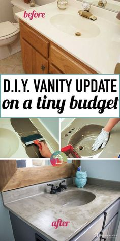 Do you have outdated, cultured marble vanities in your home?  You can totally transform them for around $20.  Learn all about this DIY concrete vanity makeover and see the full tutorial.