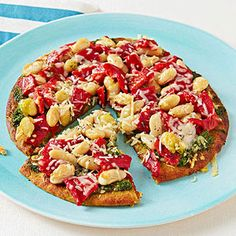 Pesto Pizza With White Beans and Roasted Red Peppers recipe