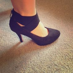 Black Suade Shoes with Ankle strap Black Suade Shoes with Ankle strap- size 7 limelight Shoes