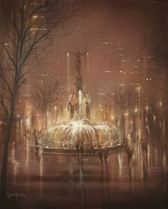 A foggy night in downtown Cincinnati is the backdrop for this painting of the famous fountain glowing in the damp and hazy atmosphere.