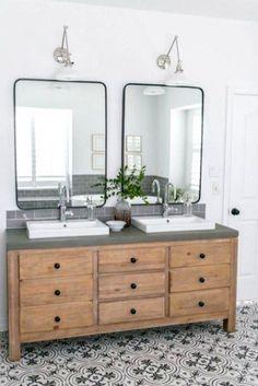 20 fabulous modern farmhouse bathroom vanity ideas - Room a Holic Bathroom Renos, Small Bathroom, Master Bathroom, Bathroom Vanities, Bathroom Bin, Bathroom Renovations, Bathroom Cabinets, Concrete Countertops Bathroom, Marble Countertops