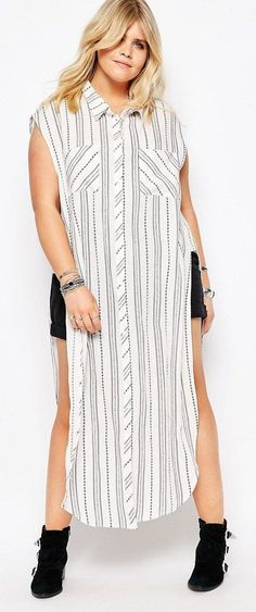Plus Size Stripe Sleeveless Shirt Dress