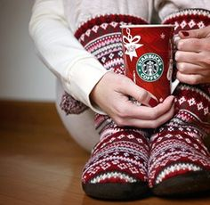 red slipper socks and Starbucks holiday cup!