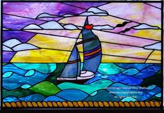 Custom Made Stained Glass Ocean Scene