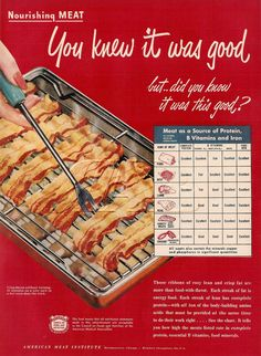 Vintage ad for yummy bacon from 1949 Retro Recipes, Vintage Recipes, Vintage Ads, Retro Ads, Vintage Food, Retro Food, Vintage Stuff, Bacon Jokes, Vitamin A Foods