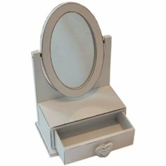 Childrens Small Aged Look Dressing Table Mirror with Jewellery Drawer (H23cm): Amazon.co.uk: Kitchen & Home