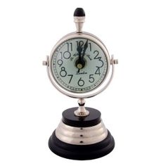 Indigocart Round Shaped Wooden Mounted Table Clock With Decorative Compass on…