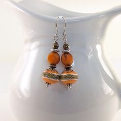 Orange and Brown Polymer Clay Earrings Polymer by CinLynnBoutique