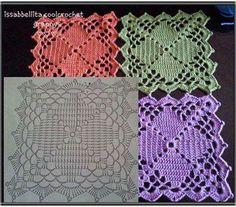 knit and crochet Granny Square Häkelanleitung, Granny Square Crochet Pattern, Crochet Blocks, Crochet Diagram, Crochet Chart, Crochet Squares, Love Crochet, Crochet Granny, Crochet Bebe