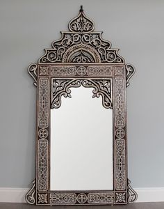 Bone inlay hand crafted Arabic style mirror.