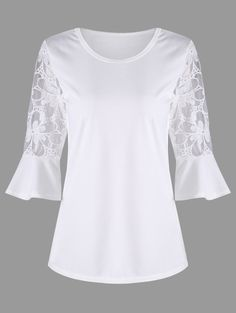 See Through Bell Sleeve Top - WHITE M