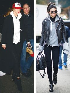 Left, Gigi Hadid wears a white hooded sweatshirt with black skinny jeans, black heeled booties, a long coat, and a trucker hat. Right, Kendall Jenner wears a gray hooded sweatshirt, black skinny jeans, a leather jacket, and booties.