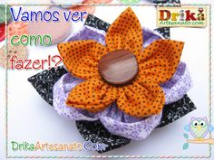 Flores de tecido com cores variadas - Drika Artesanato