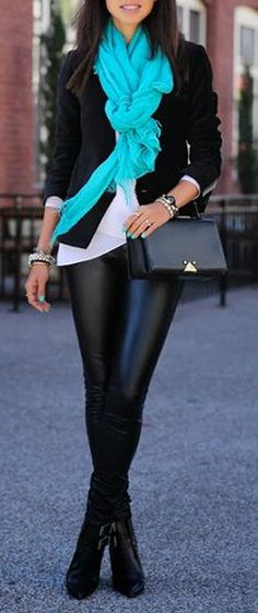 Black Leather & A PoP of Teal ♥... I am going to have at least one pair of leather pants in my closet!!