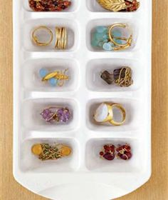 Ice-Cube Tray as Jewelry Storage  A clever way to repurpose an everyday item.   Each ring, necklace, bracelet, and pair of earrings gets its own cubby when you use an ice-cube tray to organize your baubles. Trays can be stacked in a drawer for a multilayer alternative jewelry box. Organization Hacks, Organizing Ideas, Organising, Organizing Jewelry, Organizing Your Home, Closet Organisation, Bedroom Organization, Jewelry Storage, Earring Storage