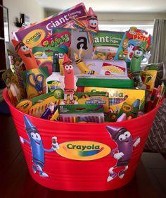 Crayola themed basket for basket auction Summer Gift Baskets, Gift Baskets For Men, Christmas Gift Baskets, School Auction Baskets, Silent Auction Baskets, Fundraiser Baskets, Raffle Baskets, Theme Baskets, Themed Gift Baskets